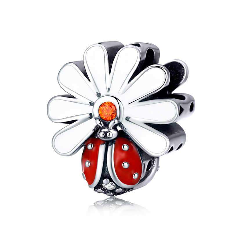 Fit Pandora Braccialetto in Argento 925 Originale Cz Rosa Clover Fiore Elf Farfalla Beetle Perline S925 Arancione Arco Pendenti E Ciondoli Gioielli Fai da Te