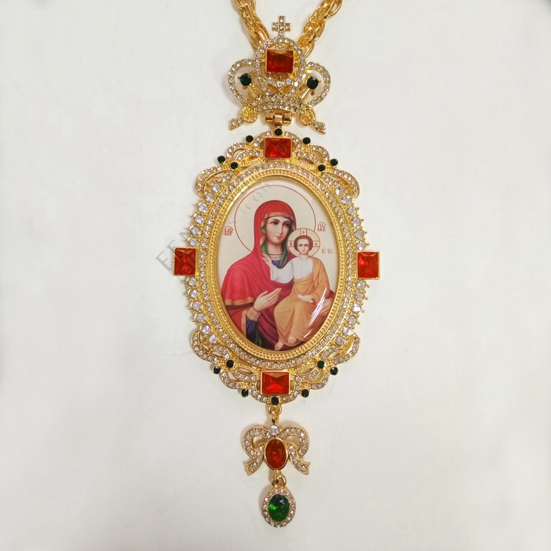 Orthodox elliptic Pectoral Cross design jeweled religious icon byzantine Crucifix necklace bishop priest episcopal