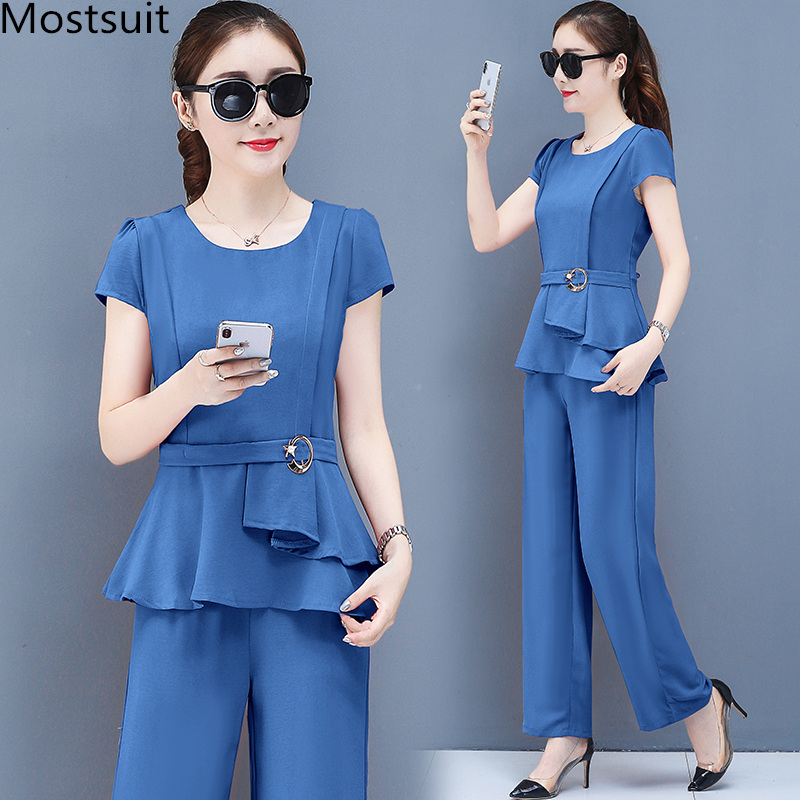 2019 Summer Chiffon 2 Two Piece Sets Outfits Women Plus Size Short Sleeve Tunics Tops And Pants Suits Office Elegant Korean Sets