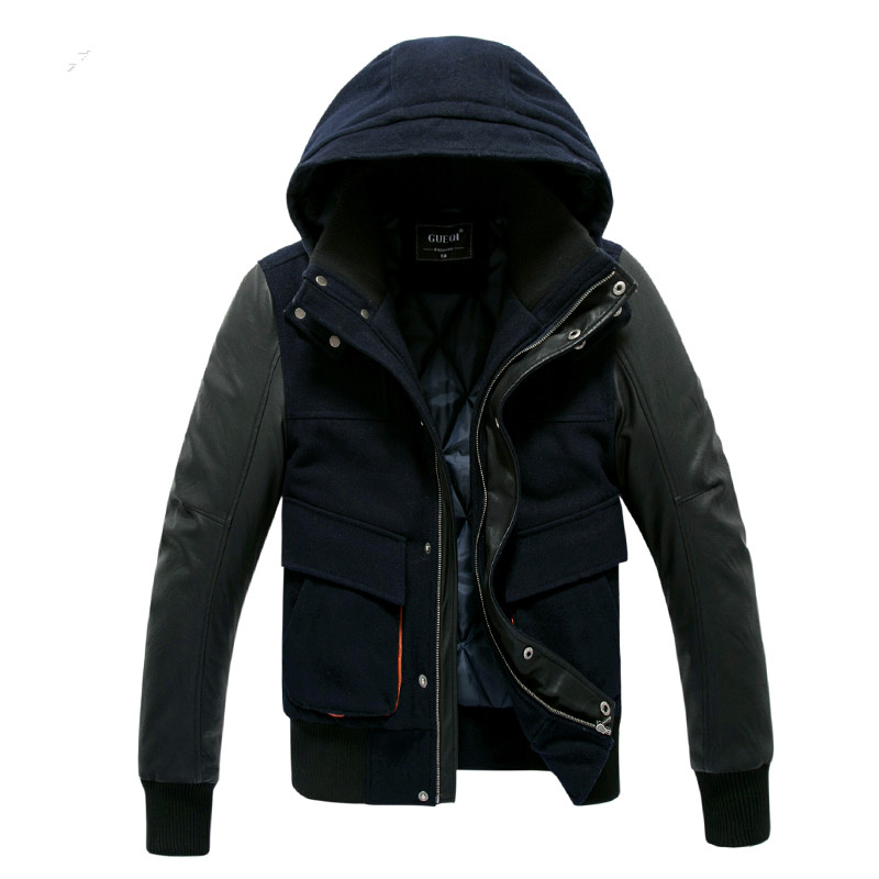 2016 new arrive brand-clothing lucci mens fashion Plus velvet loose large size Leather sleeves Hooded russian winter coats цены онлайн