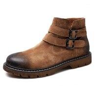 עור אמיתי מגפיים נוסע עור סוס משוגע אופנה גברים מגפי מרטין מגפיים מדבר נעלי עור עליון גבוה פופולרי