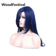 цена на Genuine WoodFestival dark blue wig long straight hair female heat resistant synthetic cosplay wigs for women