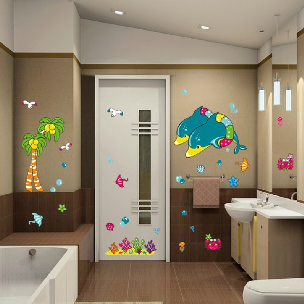 1 Set Removable Pvc Decals Bathroom Waterproof Poster Dolphin Art Wall Stickers For Bath Tile Decoration Ld2032 In From Home Garden On