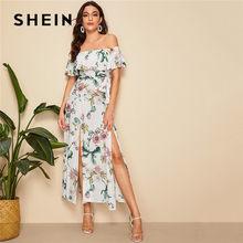 15cfb35c041 SHEIN Boho imprimé Floral fendu ourlet repliable épaule dénudée Maxi robe  femmes été Sexy robe plage vacances ceinturée longues .