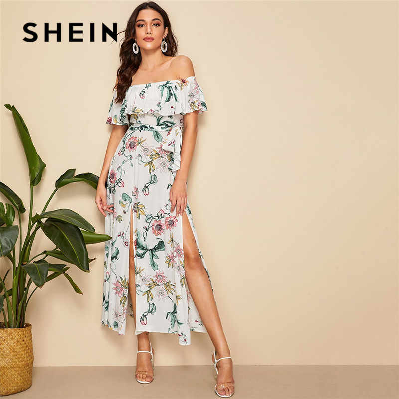 SHEIN Boho Цветочный принт с разрезом по краям с открытыми плечами Макси платье женское летнее сексуальное платье пляжное Свободное длинное платье с поясом