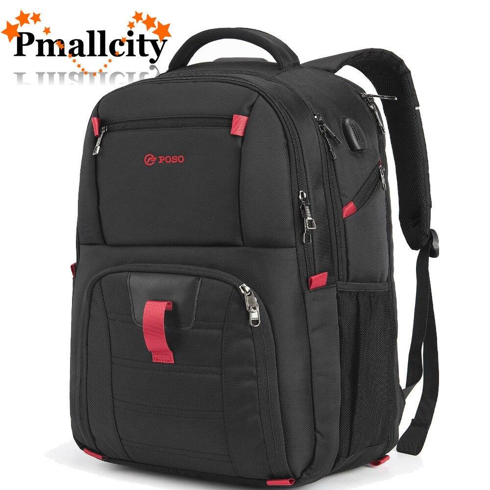 17.3 Inch Laptop Backpack Bag w//USB Charging Port Travel Notebook Knapsack Case
