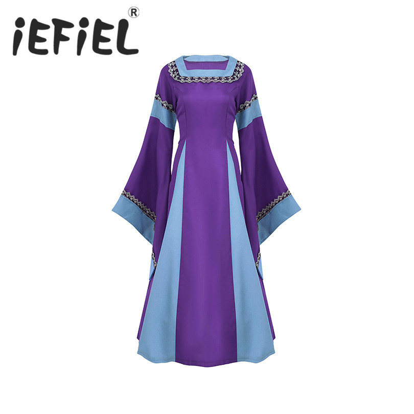 iEFiEL Womens Medieval Dress Halloween Cosplay Costume Lace Up Long Sleeved Trumpet Vintage Floor Length Retro Fancy Party Dress