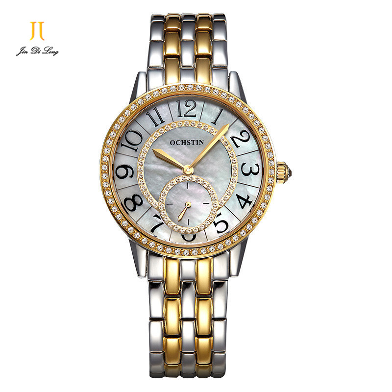 Retro Fashion Casual Dress Watch Women Elegant Quartz Diamond Wrist Watches Ladies Wristwatch Pearl Dial Second Sub-dial Watch