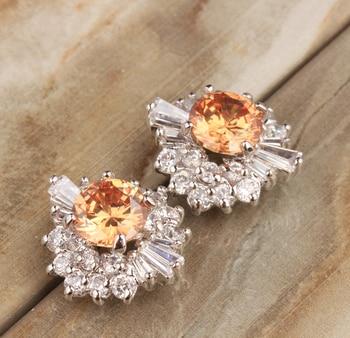 7c7bc6453709 Elegante Champagne naranja puro gemas de Plata de Ley 925 pendientes  pendiente joyería de mujer S5617