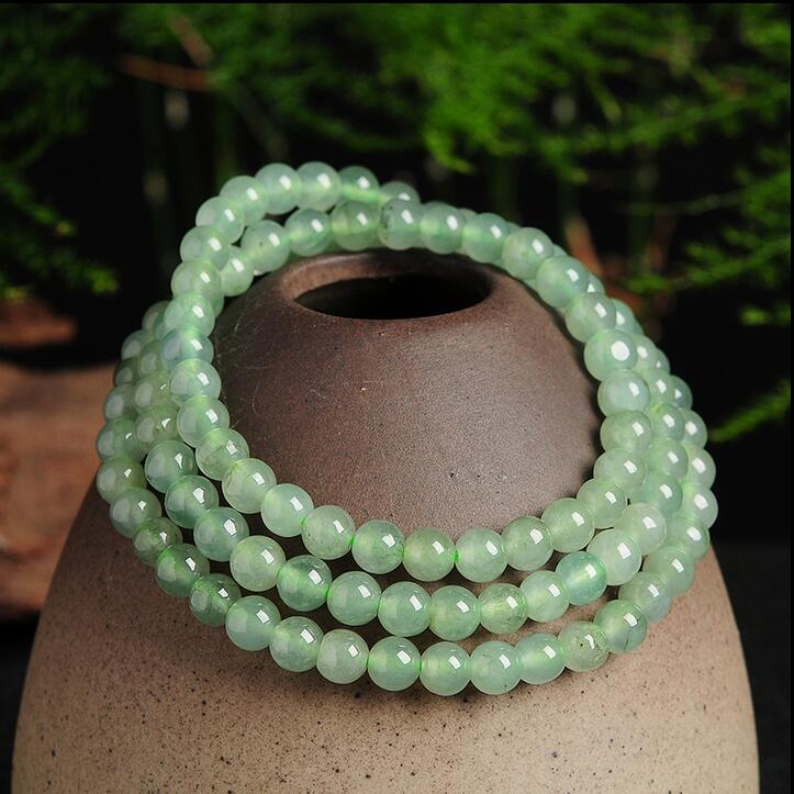 100% Natural Light Green Jadeite Smooth 5mm Beads Elastic Line Necklace With Certificate free shipping ddh006 light green natural a jadeite beads necklace lavender