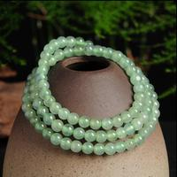 100% Natural Light Green Jadeite Smooth 5mm Beads Elastic Line Necklace With Certificate