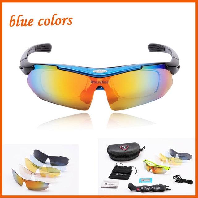 27e6efb22 Wolfbike Professional azul ciclismo bicicleta óculos Chilli Beans óculos De  Sol UV 400 com 5 Lens