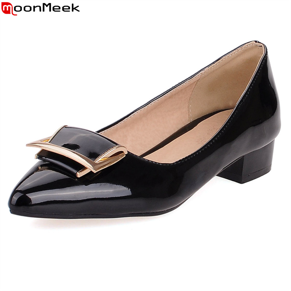 MoonMeek 2020 Pointed Women Pumps Med Heels With Metal Decoration Slip On Patent Leather Red Black Dress Ladies Shoes
