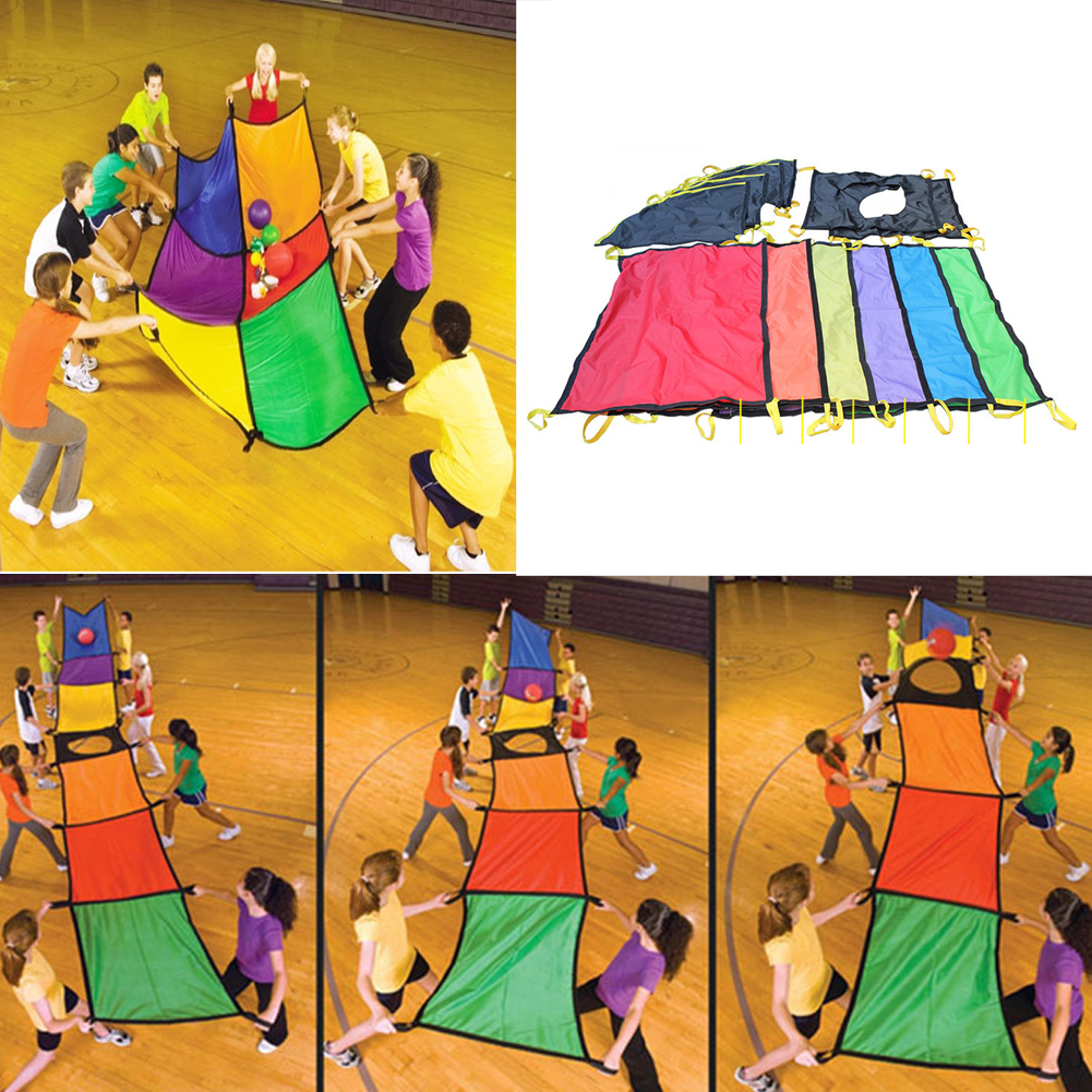 ФОТО 107 X 73cm Rainbow Juggling Umbrella Cloth Kids Indooor Outdoor Sport Training Tool for Children Kids Cooperation Developing