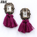 New 2017 fashion tassel brincos hot sale crystal vintage square statement big stud Earrings for women jewelry Factory Price