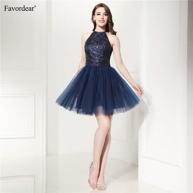 Favordear Womens Sparkly Beaded Formal Dresses Navy Grey Grape Royal Blue  Sexy 2018 New mini Prom da8c0c3a2625