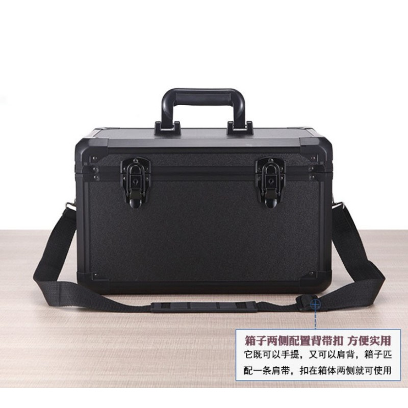 370x220x210mm Aluminum Alloy Tool Box Portable Suitcase File Box Instrument Box Impact Resistant Safety Case Storage Case