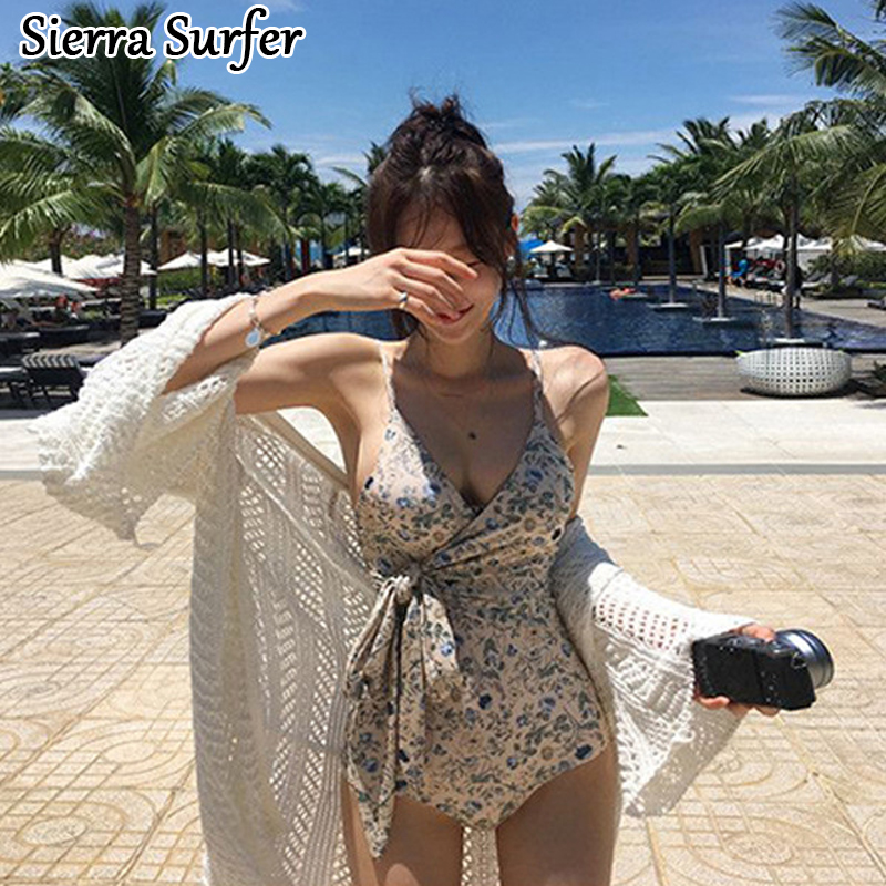 Cheap Sexy Bathing Suits Lady Bikini 2018 Womens Swim Suit Wear One-Piece Swimsuit New Flower Push Up Triangle Self Cultivation