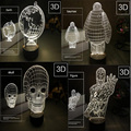 Baymax Skull 3D USB Led night light 4types changing christmas mood lamp touch button kids living/bedroom table/desk lighting