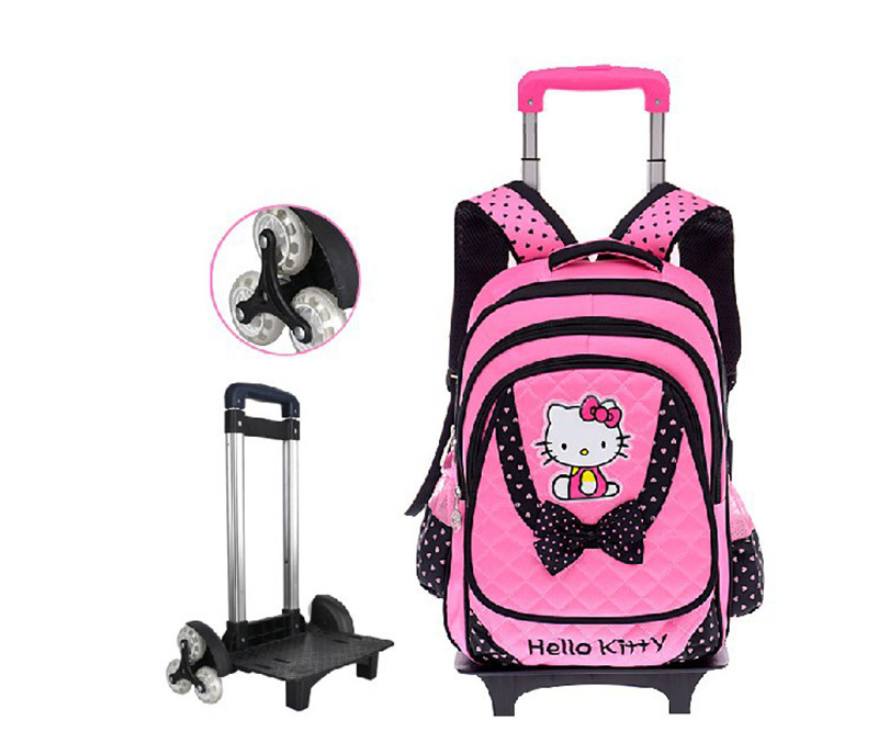 Hello Kitty Children School Bags Mochilas Kids Backpacks With Six Wheels Trolley Luggage For Girls backpack wholesale mochila retail 1pc 2015 new children backpacks hello kitty school bags sweet bows pu leather school backpacks for girls mochila escolar