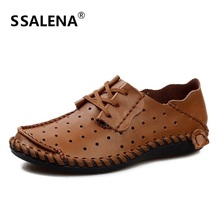 Men Soft Leather Business Driving Shoes Male Hollow Out Mesh Breathable Flat Shoes Casual Lace Up Skidproof Footwear A290