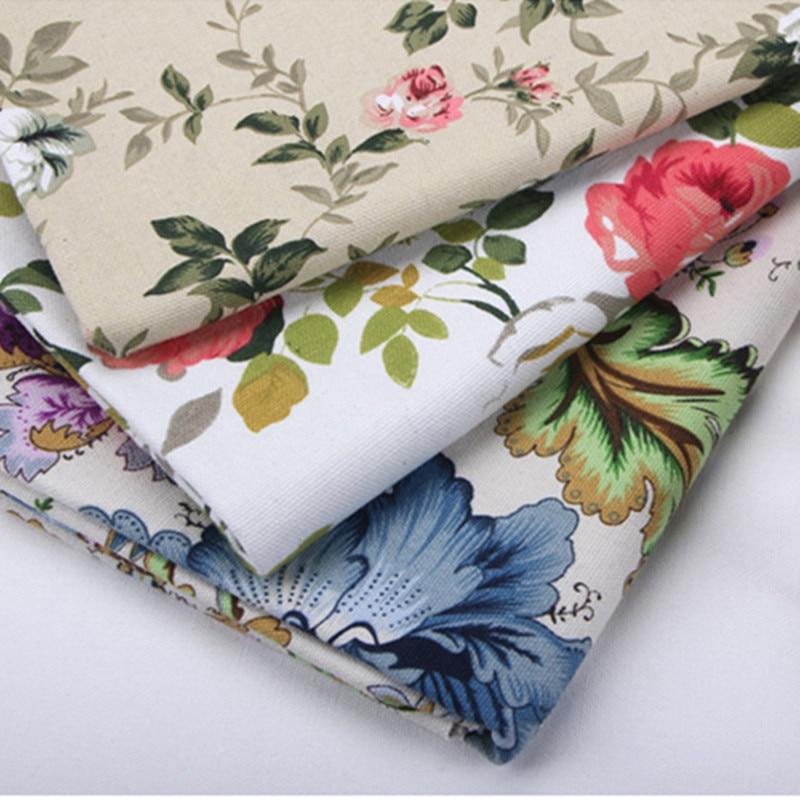 50x150cm Cotton Canvas Fabric Print Rose Flower DIY Sofa ...
