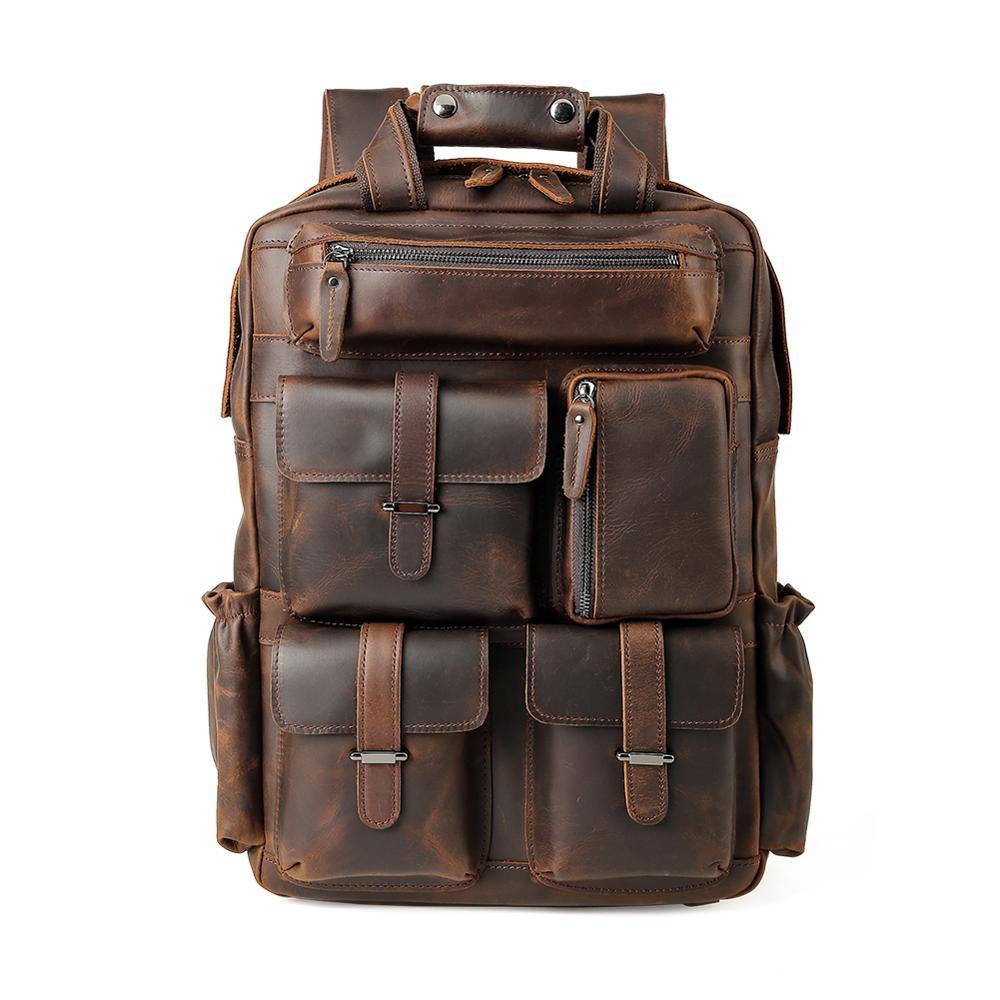 Фирменная винтажная мужская сумка для ноутбука пакет из натуральной коровьей кожи рюкзак для путешествий mochila