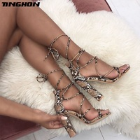 TINGHON Summer Women Sandals Ankle Strap High Heels PU Serpentine Print Sexy Lace Up Square Heel Sandals Shoes Size 35 40