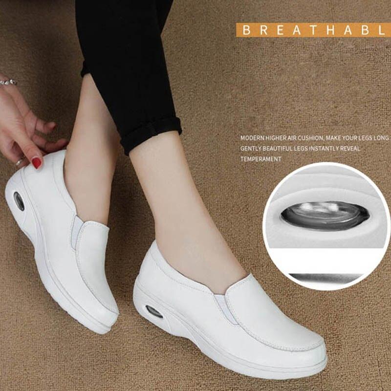 fad38006 Nuevos zapatos de enfermera blancos de cuero genuino para mujer, zapatos de  plataforma informales para mujer, cómodos planos de masaje para mujer, ...