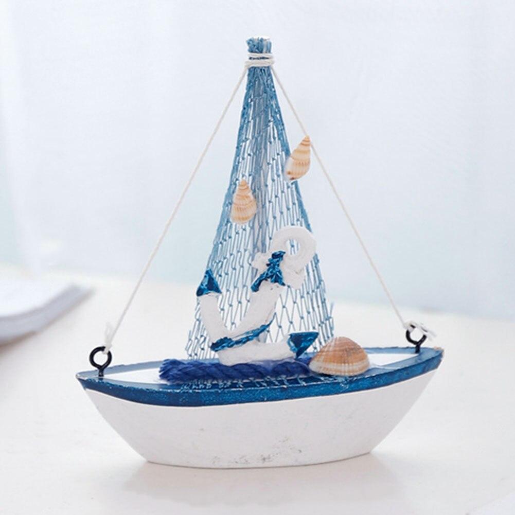 Mediterranean Style Mini Office Wooden Nautical Decor Bedroom Props Children Toys Sailing Boat Model Retro Gift Furnishing Home
