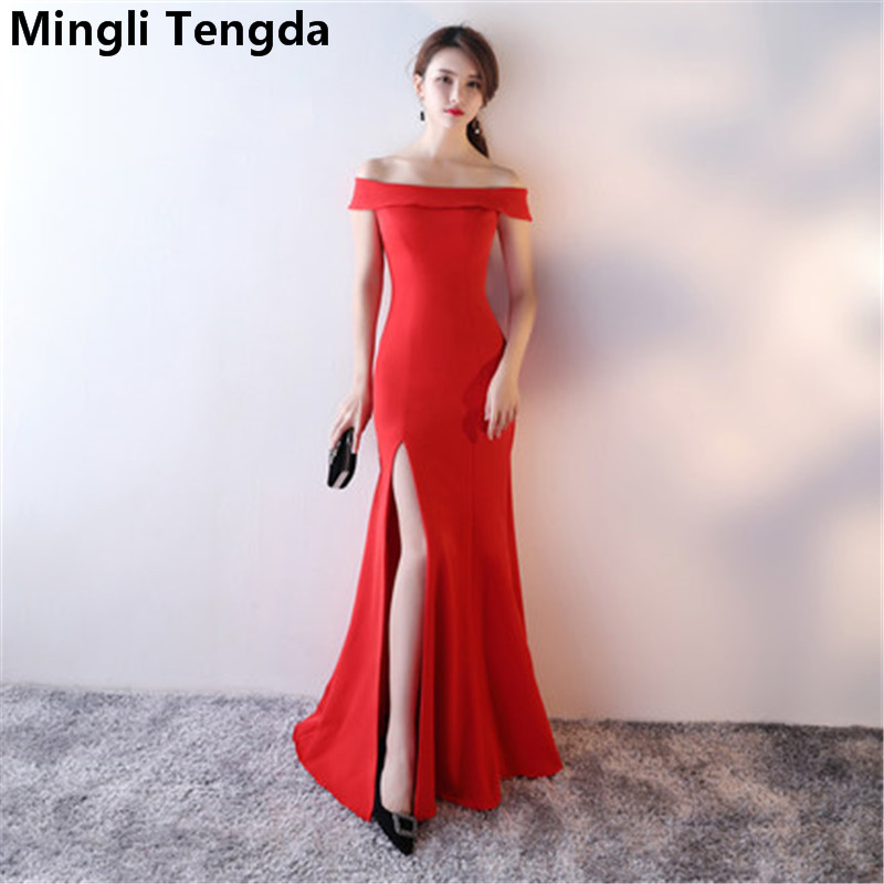 Mingli Tengda Red/Black Off the Shoulder   Bridesmaid     Dresses   Boat Neck Elegant Long   Bridesmaid     Dress   robe demoiselle d'honneur