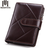 Men Wallet Promotion Excellent Genuine Leather 3 Fold Short Male Clutch Oil Wax Cowhide Wallets Carteira