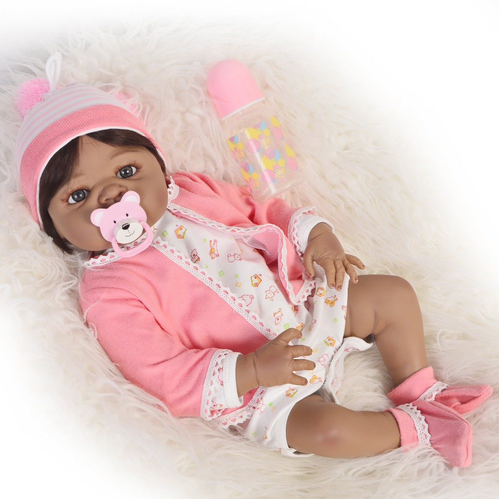 Bebes reborn African girl black doll 55cm Full Body Silicone Reborn Baby Doll Toy 22inch alive Babies Doll Child Bathe Toy giftBebes reborn African girl black doll 55cm Full Body Silicone Reborn Baby Doll Toy 22inch alive Babies Doll Child Bathe Toy gift