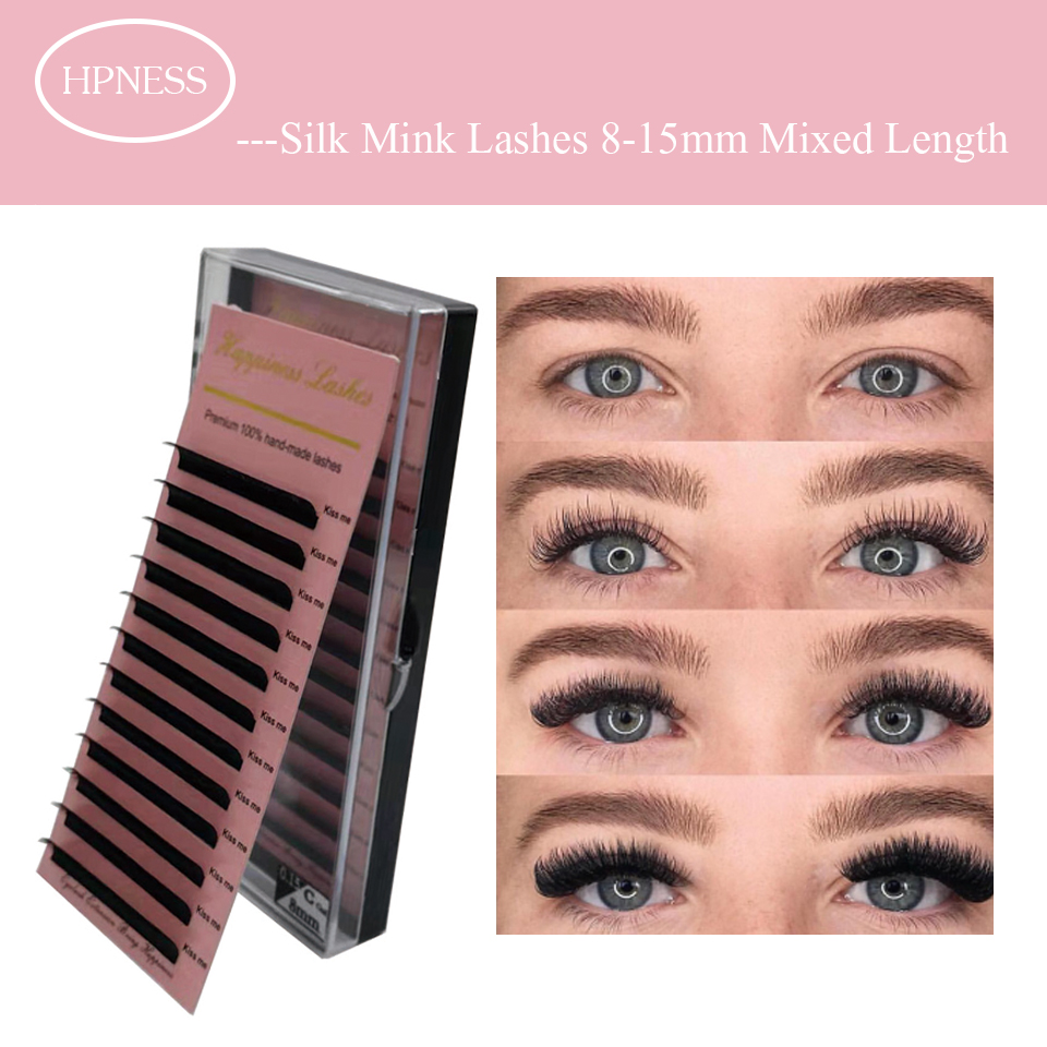 HPNESS Premium Eyelash Extension Silk Mink Soft Lashes Classic Eye Lashes 8-15 mm Mixed Length in One Box