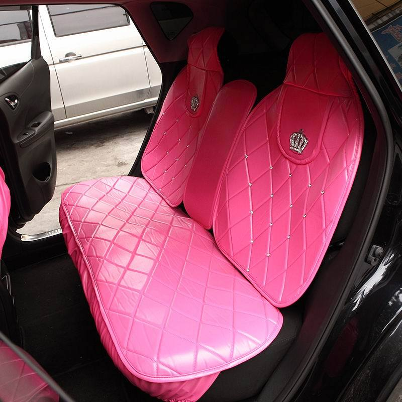 Auto Accessories Luxury DAD Diamond Crown Universal Car Seat Cover General Four Seasons Pink PU Leather Covers In Automobiles From