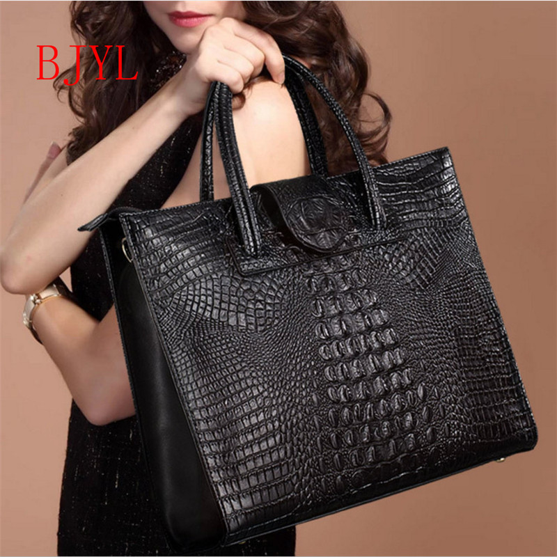 Genuine Leather Alligator Women Shoulder Bags Women Handbags Large Capacity Tote Crossbody Shoulder Bag Leather Messenger bag yasicaidi fashion women leather handbags large capacity tote bag black oil leather shoulder bag crossbody bags for women handbag
