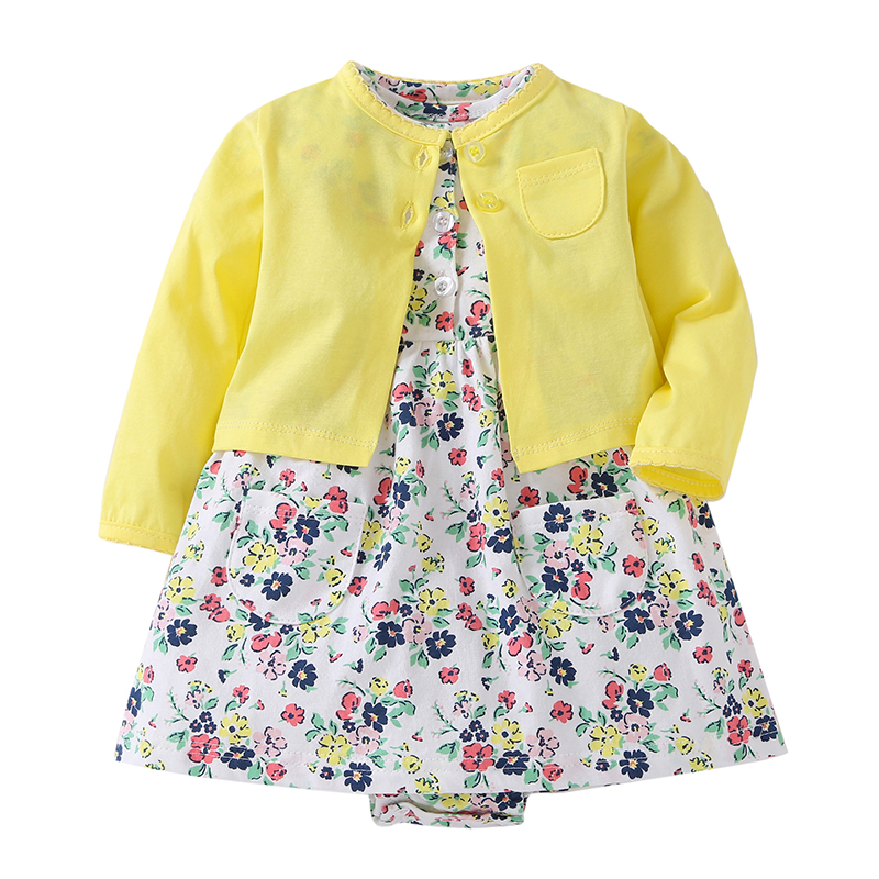 Summer Fashion 2Pcs Baby Dress Sets Printed White Flowers Bodysuit  Cotton + Yellow Coat   Baby Girl Clothes Sets
