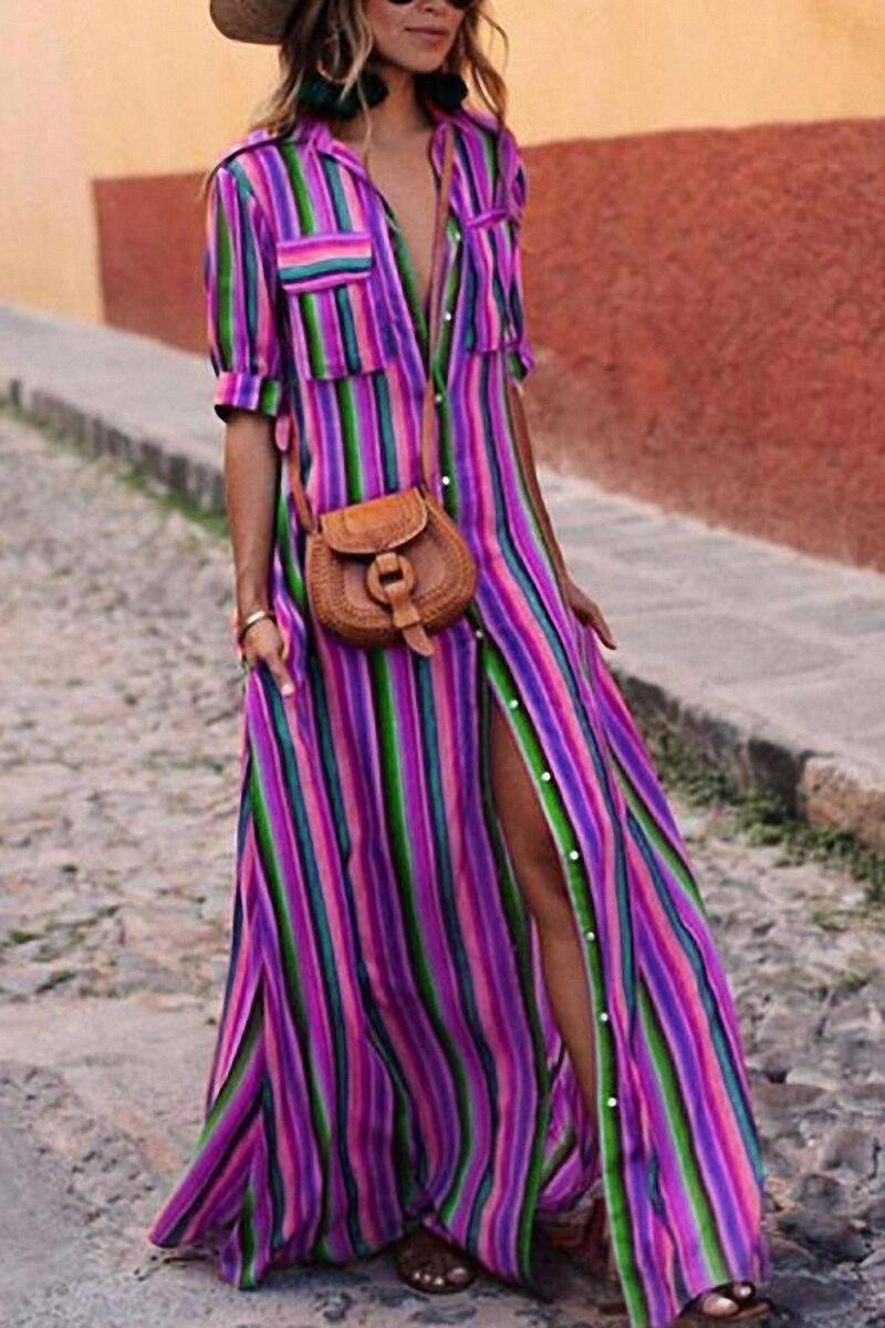 2018 Summer Striped Long Maxi Dress Turn-down Collar Print Dress Women Casual Loose Plus Size Shirt Dresses