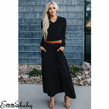 New Women Boho Dot Maxi Dress Vestidos Long Sleeve Button Casual Shirt  Dresses Lady Autumn Party dc91da5a3aae