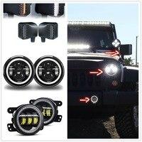 Для Jeep Wrangler JK фары 7 светодиодный + Halo 4 Противотуманные фары + боковое зеркало заднего вида корпус белый желтый поворотные сигнальные огни