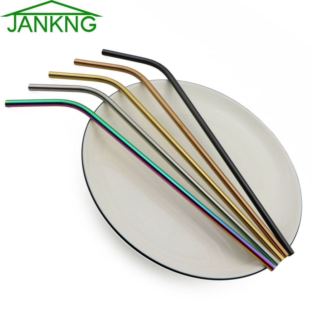 JANKNG 100 Pcs Reusable Straw Pipette Suction Metal Stainless Steel Drinking Straws Pipe Bent Tube Events