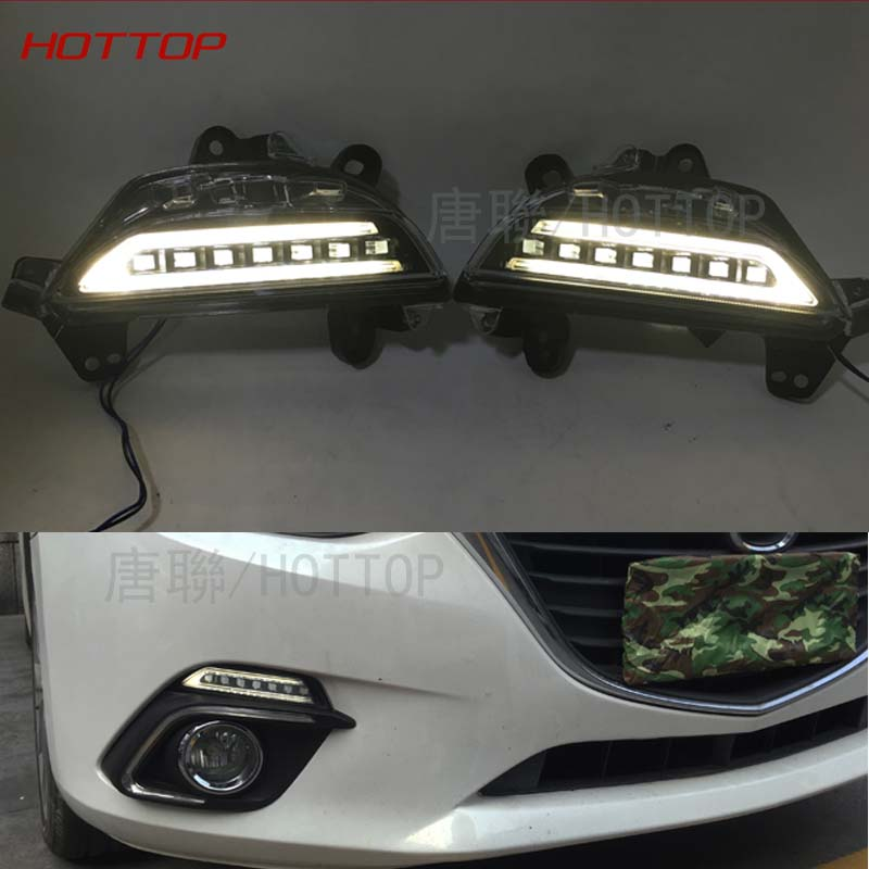 NEW Turn Signal Light and dimming style Relay 12V LED car DRL daytime running lights with fog lamp hole for Mazda 3 axela 2017