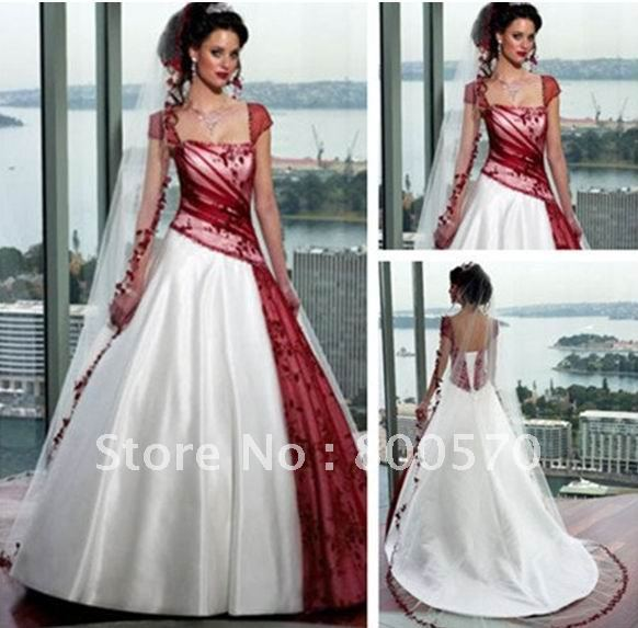 Red Lace Ivory Satin Cap Sleeve Wedding Dress-in Wedding