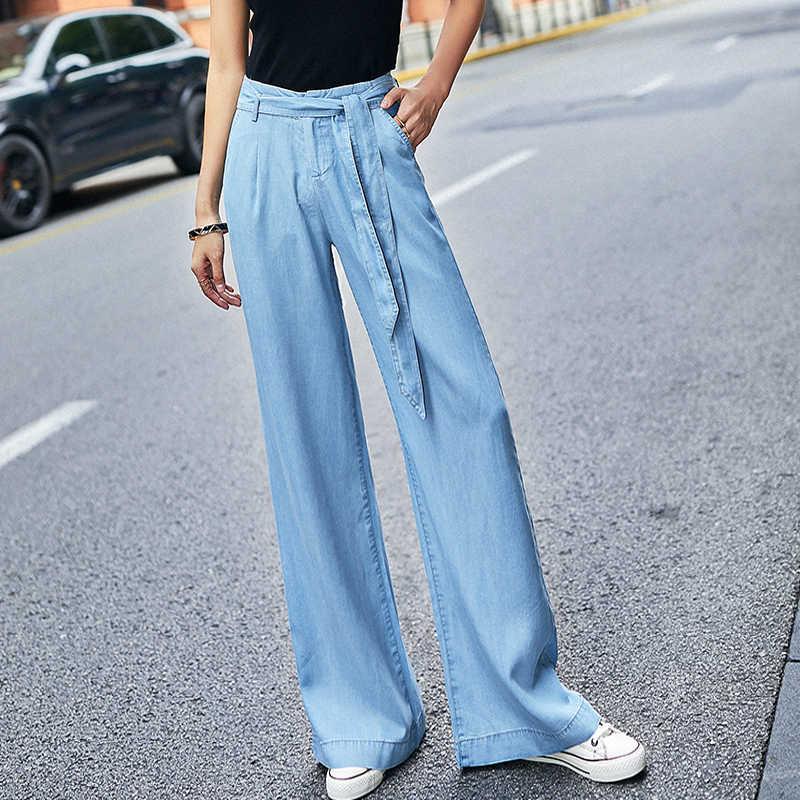 כחול Tencel ג 'ינס נשים קיץ גבוה מותניים מכנסי קז'ואל Sashes כפתור רוכסן טוס Loose ינס מלא אורך OL ג' ינס לנשים