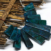 Classical design fashion blue green chrysocolla stone beads 15-40mm 11 pieces stick pendant set women jewelry making B1556