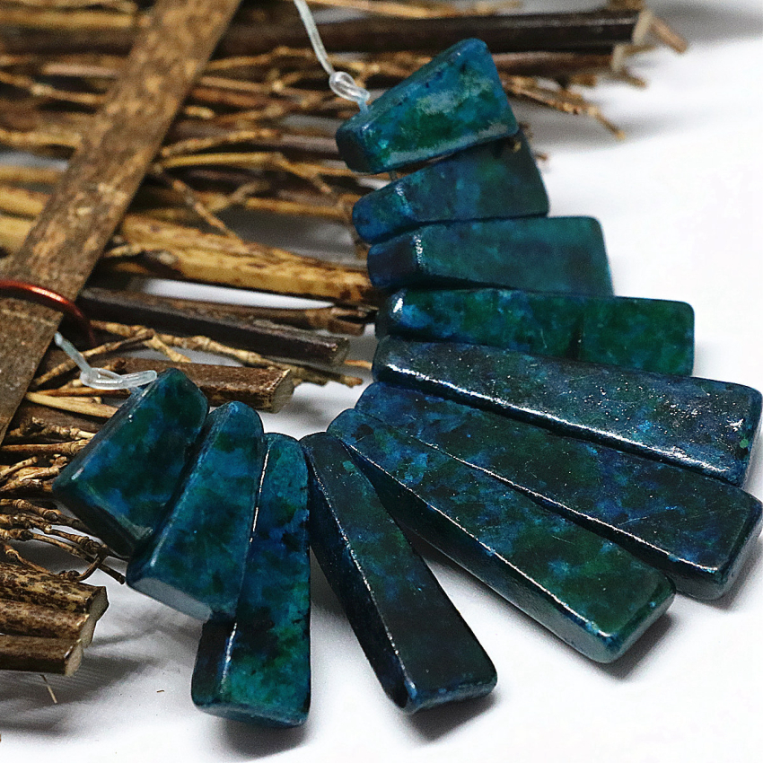 Classical design fashion blue green chrysocolla stone beads 15 40mm 11 pieces stick pendant set women