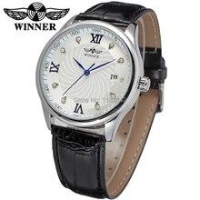 Новый Победитель Повседневная Автоматические Часы Мужчины Горячие продажи Автоматические моды для Мужчин Часы черный кожаный ремешок Доставка Бесплатно WRG8024M3S5