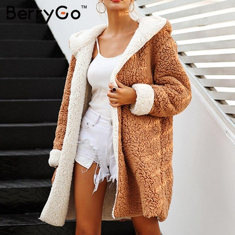 BerryGo искусственной овечьей шерсти толстые женские пальто большие размеры зимние теплые мохнатая куртка Для женщин осенняя верхняя одежда Д...