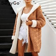 BerryGo искусственной овечьей шерсти толстые женские пальто большие размеры зимние теплые мохнатая куртка Для женщин осенняя верхняя одежда Для женщин куртка 2018