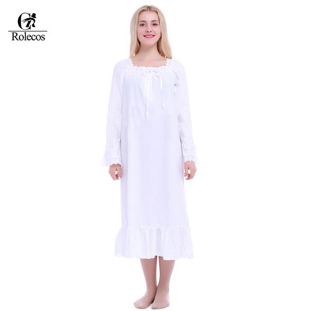 Frete Grátis Luva Cheia Do Vintage Branco 100% Algodão Camisolas Longas para Mulheres